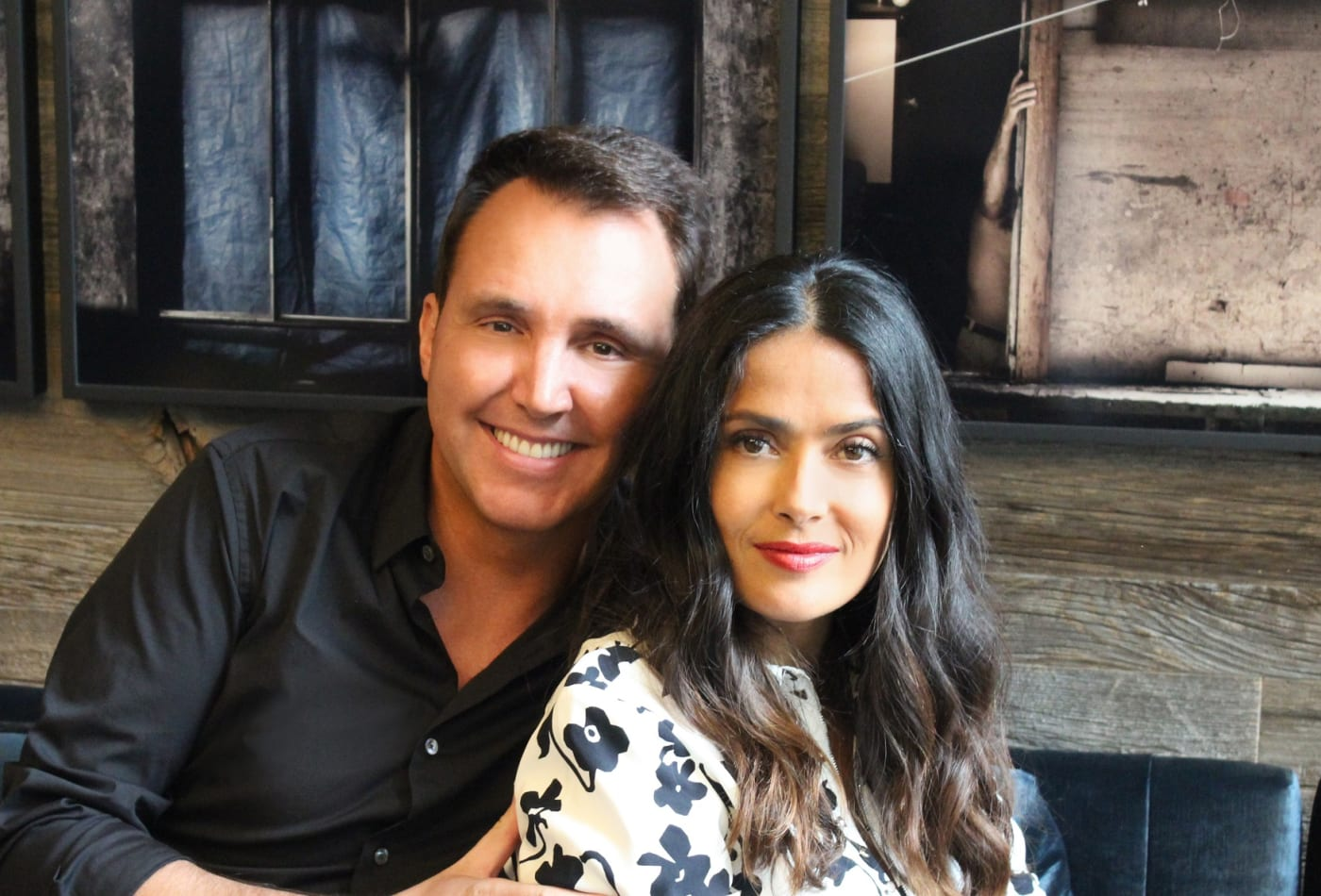 Juice Generation founder Eric Helms (L) with Cooler Cleanse co-founder and actress Salma Hayek